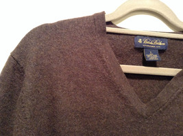 Dark Brown V Neck Long Sleeve Brooks Brothers Sweater Size Large image 3