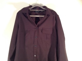 Dark Brown Size Large New York and Company Long Sleeve Button Up Blouse image 2