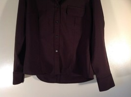 Dark Brown Size Large New York and Company Long Sleeve Button Up Blouse image 3