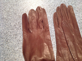Dark Brown Leather Gloves Very Soft Inside Cheoreau Size 6 Vintage image 5