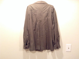 Dark Brown Gray H and M Size 10 Long Hidden Button Up Closure Jacket Pockets image 6