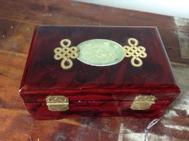Dark Brown Wooden Lacquered Jewelry Box with Locking Mechanism Red Interior image 5