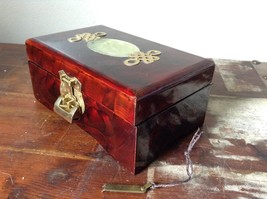 Dark Brown Wooden Lacquered Jewelry Box with Locking Mechanism Red Interior image 3