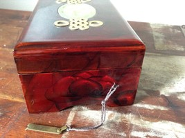 Dark Brown Wooden Lacquered Jewelry Box with Locking Mechanism Red Interior image 6