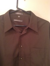Dark Gray Button Up Long Sleeve Shirt Chest Pocket Geoffrey Beene Size 34 to 35 image 2