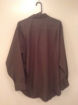 Dark Gray Button Up Long Sleeve Shirt Chest Pocket Geoffrey Beene Size 34 to 35 image 4