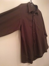 Dark Gray Button Up Long Sleeve Shirt Chest Pocket Geoffrey Beene Size 34 to 35 image 3