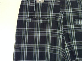 Dark Light Blue and Green Plaid Shorts by Bugle Boy Size 34 image 7