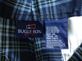 Dark Light Blue and Green Plaid Shorts by Bugle Boy Size 34 image 8