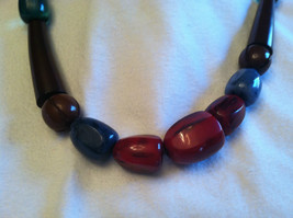 Dark Cherry Chocolate Brown Geometrically Shaped Multicolored Beaded Necklace image 2