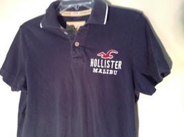 Dark Navy Blue Buttoned Collar Hollister Logo on Front Short Sleeve Shirt Size M image 2
