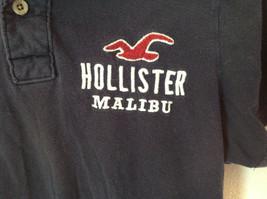 Dark Navy Blue Buttoned Collar Hollister Logo on Front Short Sleeve Shirt Size M image 4