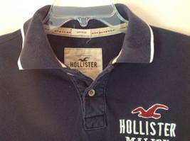 Dark Navy Blue Buttoned Collar Hollister Logo on Front Short Sleeve Shirt Size M image 5