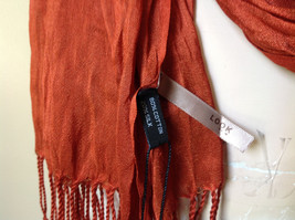 Dark Orange Silk Blend Tasseled Scrunched Style Scarf by Look TAG ATTACHED image 7