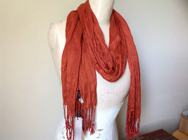 Dark Orange Silk Blend Tasseled Scrunched Style Scarf by Look TAG ATTACHED image 3