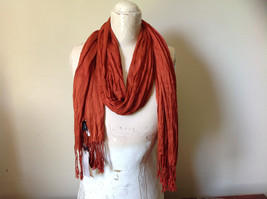 Dark Orange Silk Blend Tasseled Scrunched Style Scarf by Look TAG ATTACHED image 2