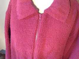 Dark Pink Long Sleeve Zip Up Dressbarn Sweater Very Soft and Comfortable image 3