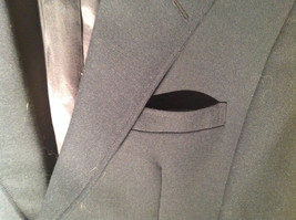 Dark Navy Blue Formal Suit Jacket by Bianchis Two Front Pockets Made in USA image 3