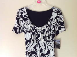 Dark Navy Blue White Design NEW Dress with Tag Scoop Neck Size 10 and Size 12 image 2