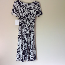 Dark Navy Blue White Design NEW Dress with Tag Scoop Neck Size 10 and Size 12 image 7