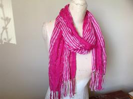 Dark Pink Striped Silver Metallic Stripes Fashion Scarf by Fashion Scarf image 2