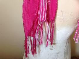 Dark Pink Striped Silver Metallic Stripes Fashion Scarf by Fashion Scarf image 4