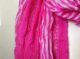Dark Pink Striped Silver Metallic Stripes Fashion Scarf by Fashion Scarf image 5
