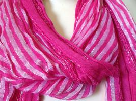 Dark Pink Striped Silver Metallic Stripes Fashion Scarf by Fashion Scarf image 6