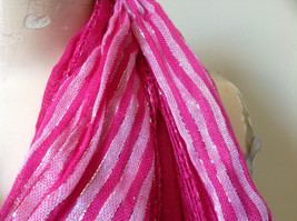 Dark Pink Striped Silver Metallic Stripes Fashion Scarf by Fashion Scarf image 7