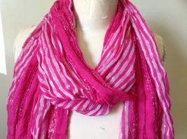 Dark Pink Striped Silver Metallic Stripes Fashion Scarf by Fashion Scarf image 3