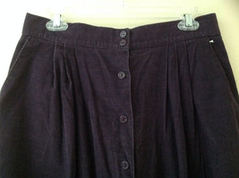 Dark Purple Corduroy Button Up Skirt Angle Length Pleated Pockets NO TAG Size 16 image 2