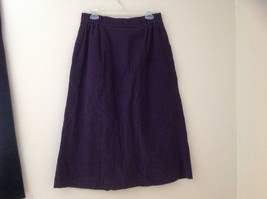 Dark Purple Corduroy Button Up Skirt Angle Length Pleated Pockets NO TAG Size 16 image 8
