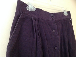 Dark Purple Corduroy Button Up Skirt Angle Length Pleated Pockets NO TAG Size 16 image 5