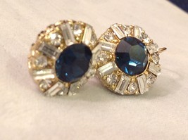 Dark Sapphire Blue Swarovski Crystal and CZ Prudence C Earrings NEW lever back image 3