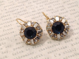 Dark Sapphire Blue Swarovski Crystal and CZ Prudence C Earrings NEW lever back image 4