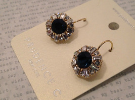 Dark Sapphire Blue Swarovski Crystal and CZ Prudence C Earrings NEW lever back image 5