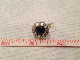 Dark Sapphire Blue Swarovski Crystal and CZ Prudence C Earrings NEW lever back image 7
