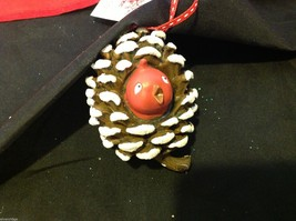 Department 56 ornament cute Pine Cone with Red bird peeking out from inside image 7