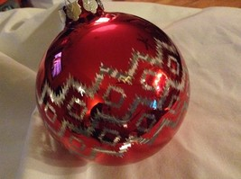 Department 56 red silver filigree geo zig vintage style Glass Holiday Ornament image 2