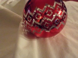Department 56 red silver filigree geo zig vintage style Glass Holiday Ornament image 4