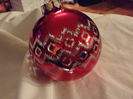 Department 56 red silver filigree geo zig vintage style Glass Holiday Ornament image 5