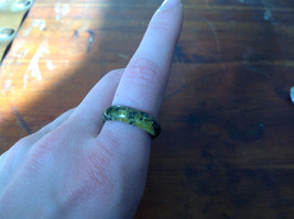 Dark Yellow Black Agate Natural Stone Ring Sizes 7, 8.5 and 9.5 image 2