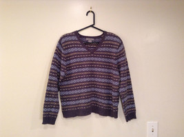 Dark and Light Blue with Light Yellow V Neck Eddie Bauer Sweater Size XL image 2