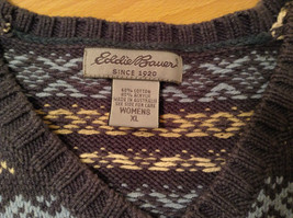 Dark and Light Blue with Light Yellow V Neck Eddie Bauer Sweater Size XL image 7
