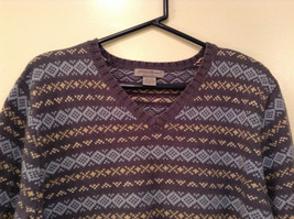 Dark and Light Blue with Light Yellow V Neck Eddie Bauer Sweater Size XL image 3