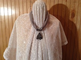 Decorated Tree Shaped Scarf Pendant Bells Stars Flowers Silver Crystals Beads image 4