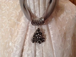 Decorated Tree Shaped Scarf Pendant Bells Stars Flowers Silver Crystals Beads image 5
