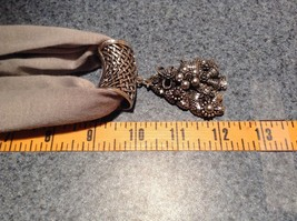 Decorated Tree Shaped Scarf Pendant Bells Stars Flowers Silver Crystals Beads image 3