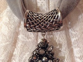 Decorated Tree Shaped Scarf Pendant Bells Stars Flowers Silver Crystals Beads image 7