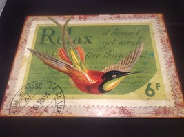 Decorative Indoor/Outdoor Metal Plaque Relax Theme Bird With Tag New image 2